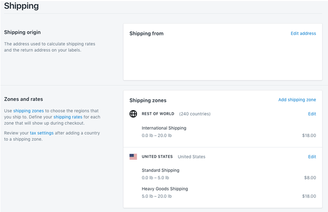 Shopify Shipping Details