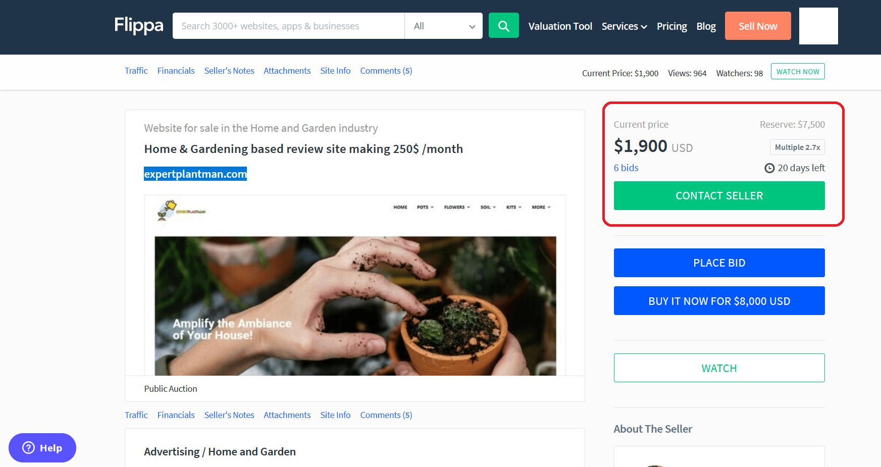 Found a profitable webiste on Flippa