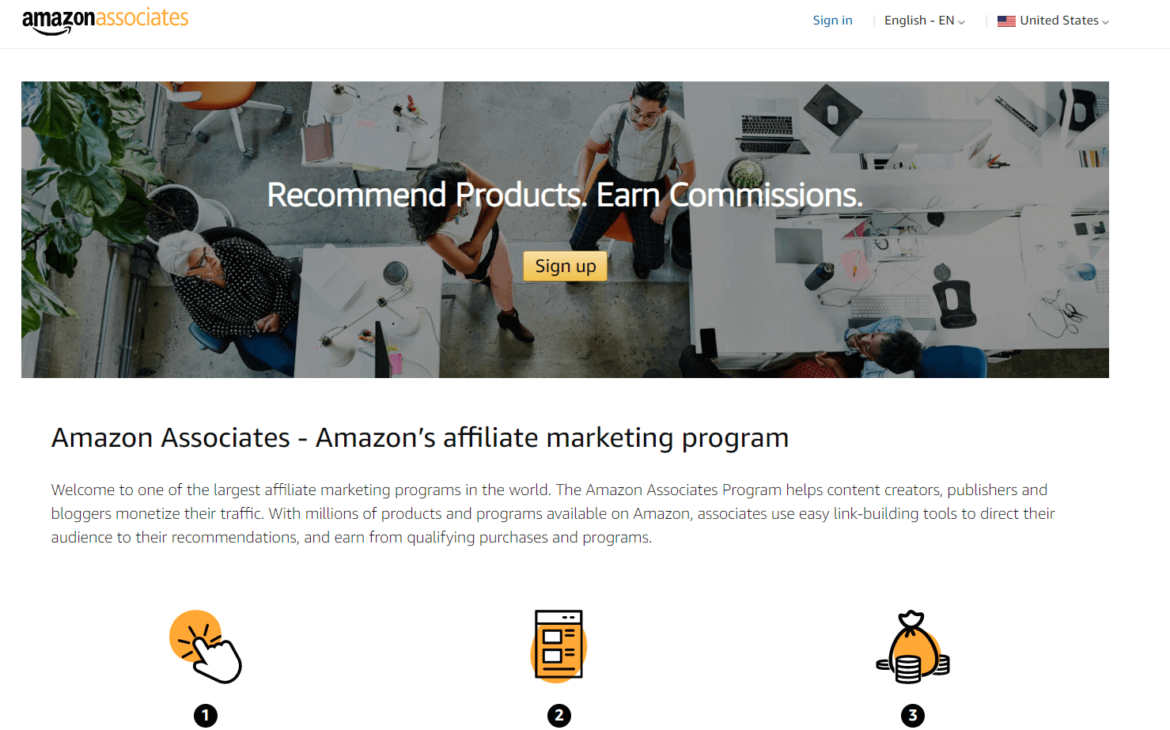 Sign up for Amazon Associates