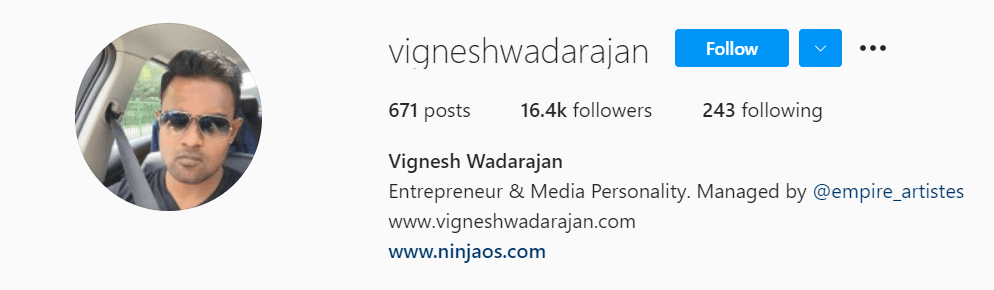 Vignesh Wadarajan - Instagram Profile