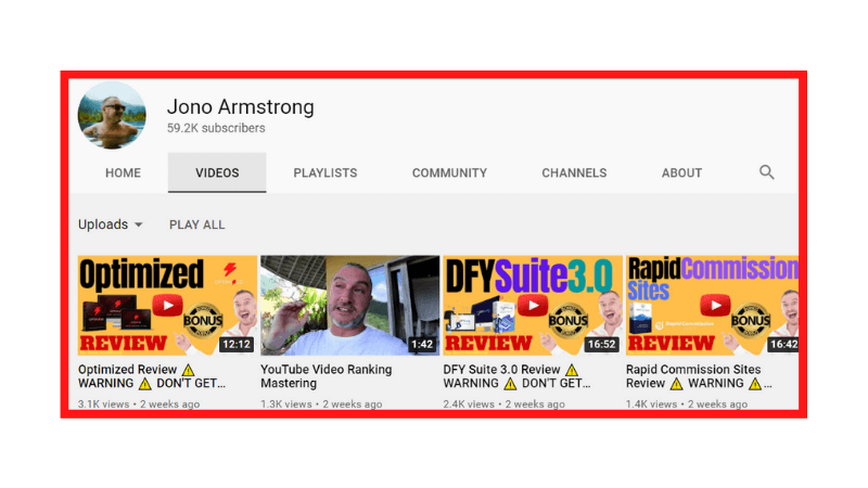 Jono Armstrong's YouTube Channel