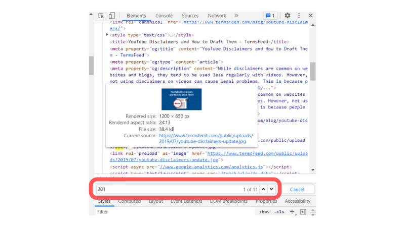 Using Inspect Element to Find a Date