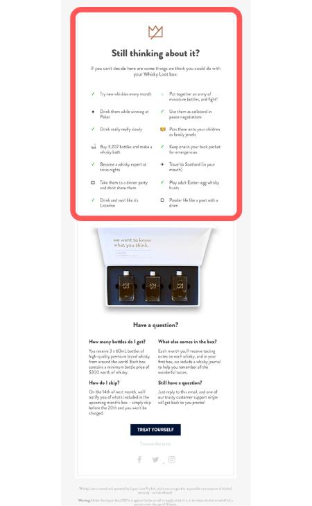Whiskylook.com Abandoned Cart Email